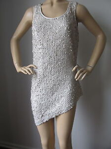BRAND NEW ST JOHN KNIT SIZE M WOMENS TOP COLOR LIGHT GREY PLATINUM SEQUINS