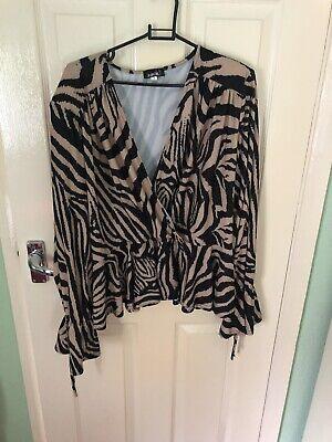 John Zack Size 18 Plus Wrap Front Top In Zebra Print