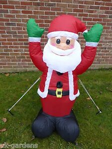 Inflatable Father Christmas Santa Decoration 120cm Tall 4 LED Lights Outdoor Use