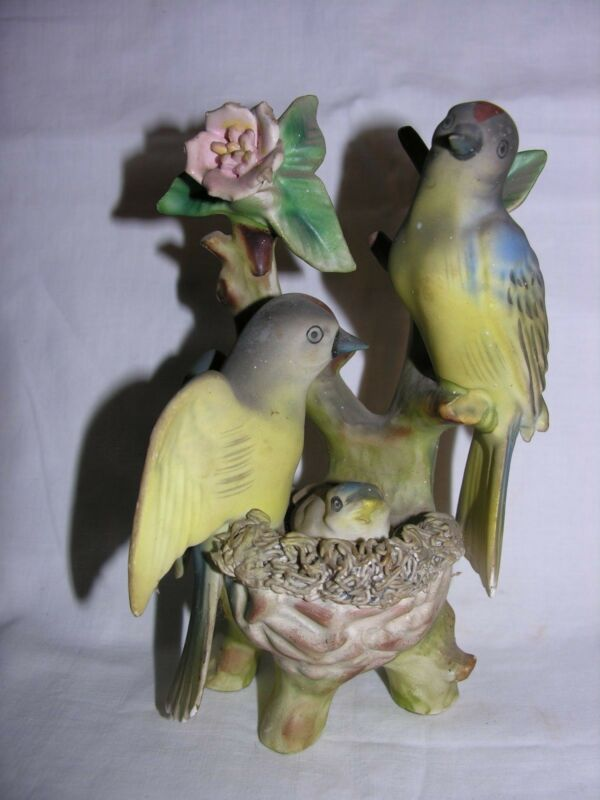 """Vintage 7"""" Bird family on branch with nest porcelain #7801 figurine"""