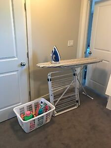 Iron, clothes rack, ironing board and basket