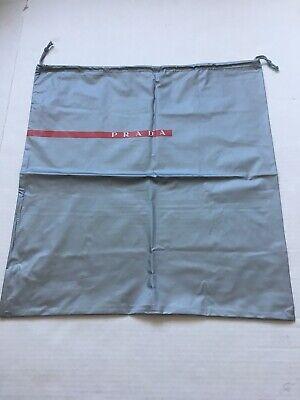 "PRADA Silver Dust Bag Shoe Bag Protective Cover Drawstring 17"" x 17"" New"