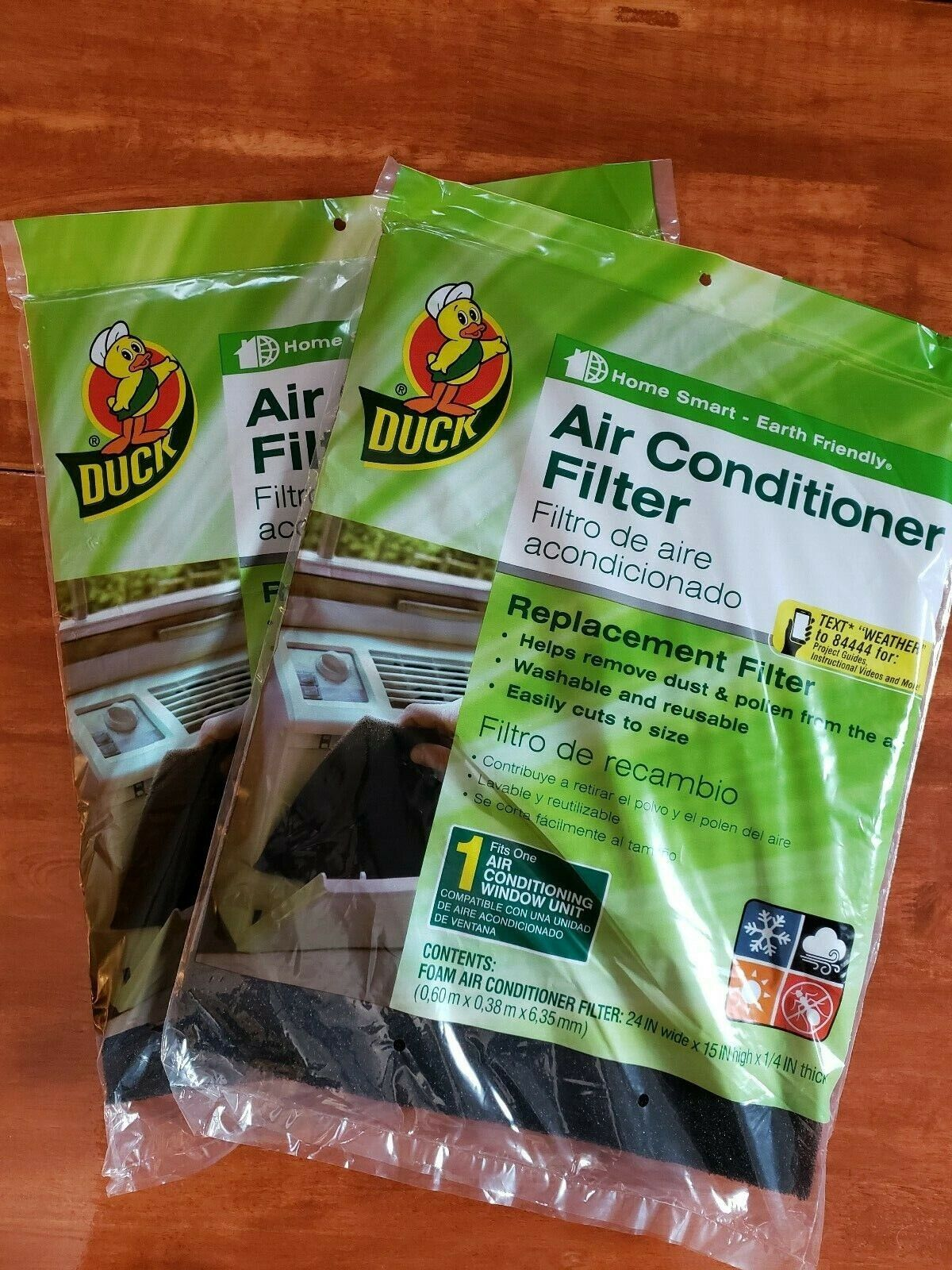 """Duck Brand Replacement Air Conditioner Foam Filter 24""""x15""""x1"""