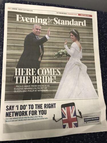 ** PRINCESS EUGENIE ROYAL WEDDING UK EVENING STANDARD LONDON NEWSPAPER 2018**