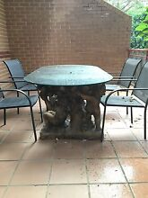 Stone outdoor table with glass top Botany Botany Bay Area Preview