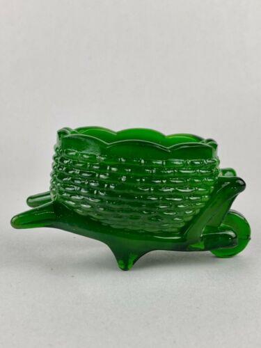 Vintage Joe St. Clair Glass Wheelbarrow Green Swirl