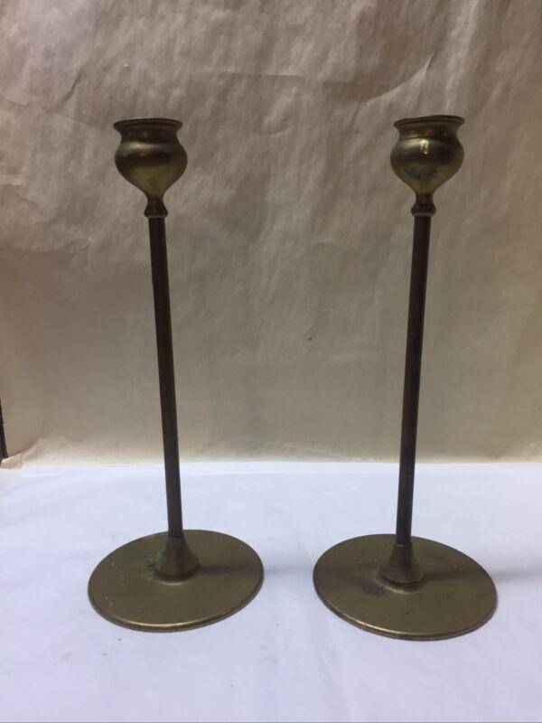 Pair of Robert Jarvie Alpha Brass Candlesticks
