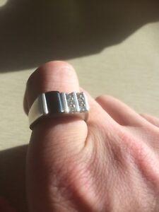 Men's black onyx diamond silver ring