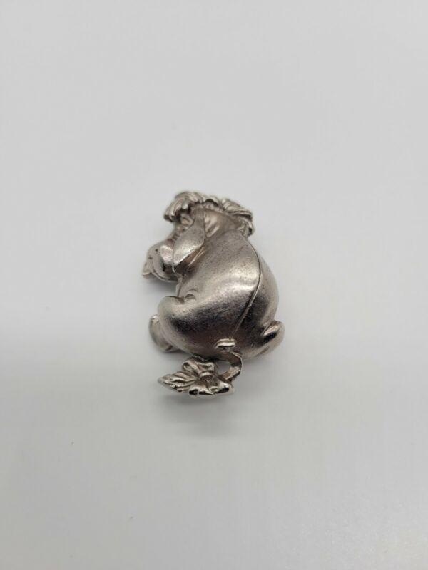 Disney Winnie The Pooh 3D Eeyore Silver Pewter Tone Pin Brooch