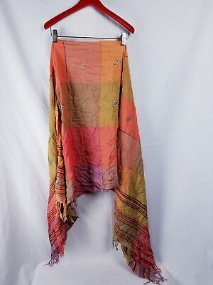 Beautiful Lightweight Boho Sparkly Square Scarf Fall Colors Red, Mustard, - Beautiful Lightweight Scarf