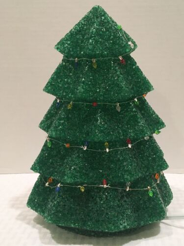 """Vintage Melted Popcorn Plastic Light Up Christmas Tree 11-12"""" Tall By Seasons"""