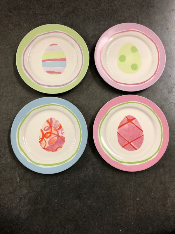 4 ROSANNA EASTER EGG Dessert Salad Plates EUC
