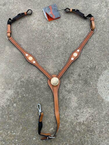 Circle Y flared tooled Western breast collar w/logo conchos US made