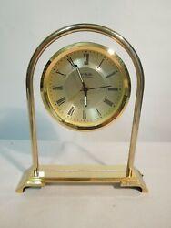 Danbury Clock Co. Quartz Alarm Clock Solid Brass & Lucite Case w/ Floating Dial
