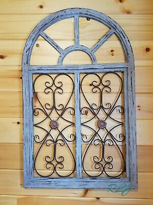 - Distressed Shabby Rustic Wood Metal Scroll Garden Gate Arched Window Wall Decor