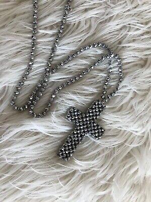 Bohemian Hippie Ibiza Boho Kette Perlen XL Kreuz - Metallic Hippie Perlen