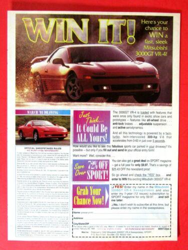 "1993 Mitsubishi 3000 GT VR 4 Ad-8.5 x 10.5""Original Print Ad-162 MPH"