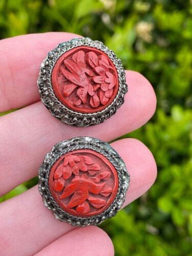 Antique Chinese Cinnabar Earrings with Birds and Lotus Flower