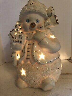 Light Up Ceramic Snowman 1960's-70's Christmas Decor
