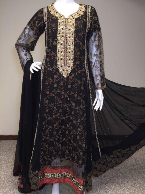 Pakistani Indian Designer Shalwar Kameez Embroidery Black Party wear S
