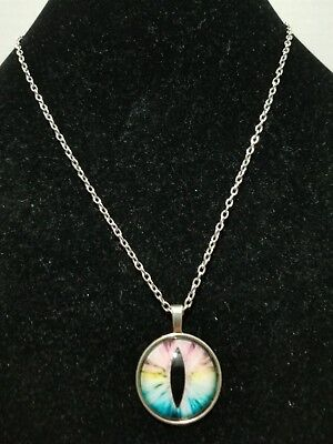 Pastel Colors Eye Cabachon Glass Pendant Necklace      Z11 for sale  Shipping to Canada