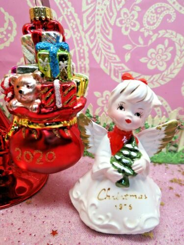 Vtg Lefton 1976 Christmas Angel Holds TREE W Blown Glass 2020 Toy Bag Ornament