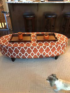 Oblong ottoman and pillows for sale - $400