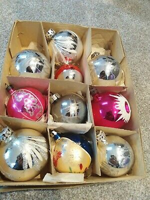 Box of 10 vintage glass christmas tree baubles