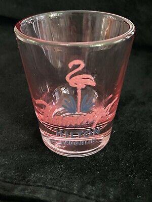 RARE PINK GLASS FLAMINGO LAUGHLIN SHOT GLASS CASINO NV NEVADA SOUVENIR HILTON