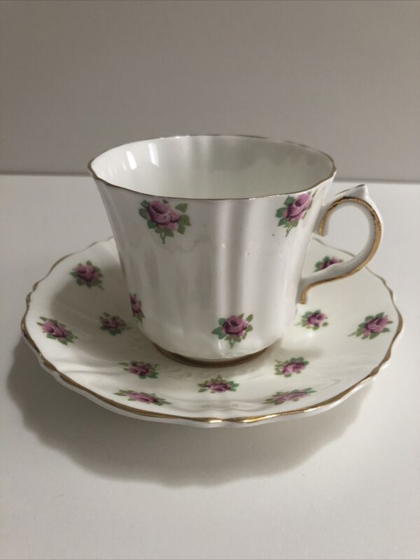 Old Royal Bone China Tea Cup and Saucer White Gold Trim & Roses ENGLAND