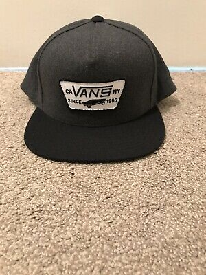 Vans Mens Full Patch Logo Snapback Black Grey Hat One Size Cap Brand New Genuine