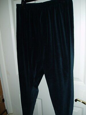 VENEZIA Plus Size 22/24 Velour Pants Dark Green 22 24 All Elastic Waist $0 S/H! Green Velour Pants