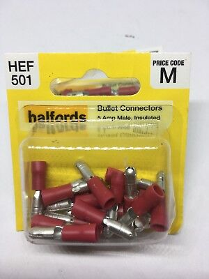 Halfords HEF501 Bullet Connectors Pack 20 Pieces 5 Amp Male Insulated Wiring NEW