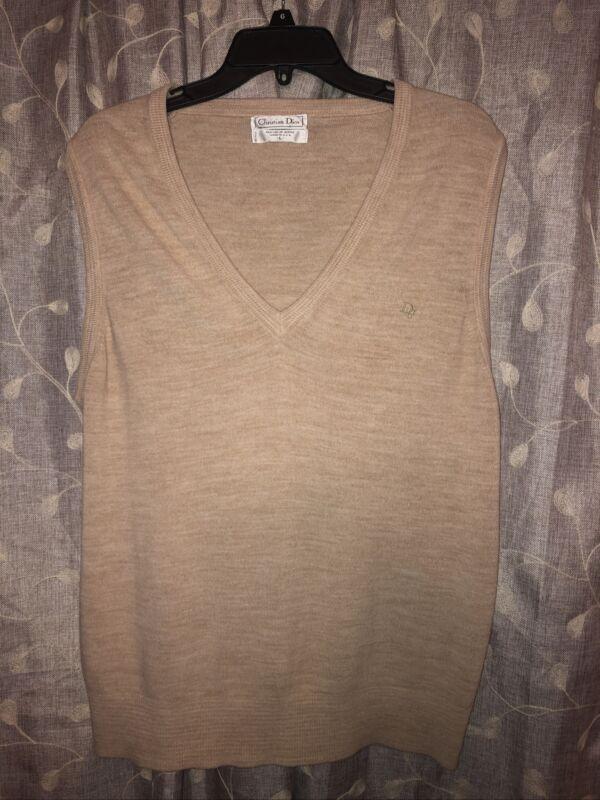 vintage Dior sweater vest size large v-neck beige acrylic