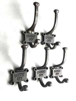 A set of five London SW1 coathooks wall door hanger coat hook SW1