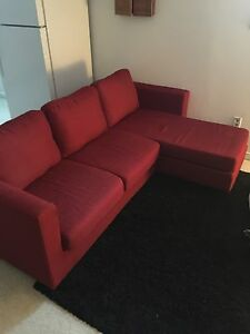 Red sectional couch, from JYSK. Good condition