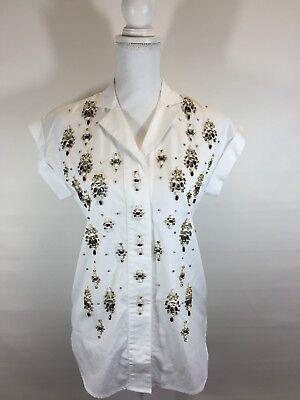 New Collection Thomas Mason J.Crew Embellished Popover Shirt White 00 F5827 $398