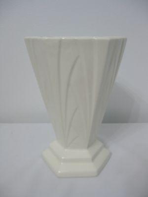 Antique Vintage 1930's Art Deco White Czech Czechoslovakia Pottery Vase