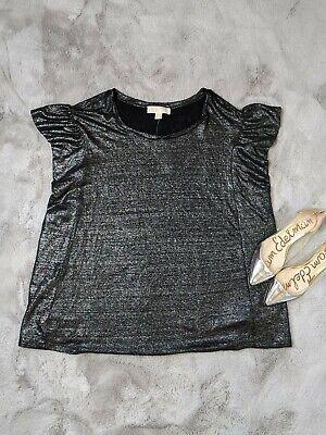 Michael Michael Kors Linen T-Shirt Metallic Flounce  Black Silver Size 2X - NWT