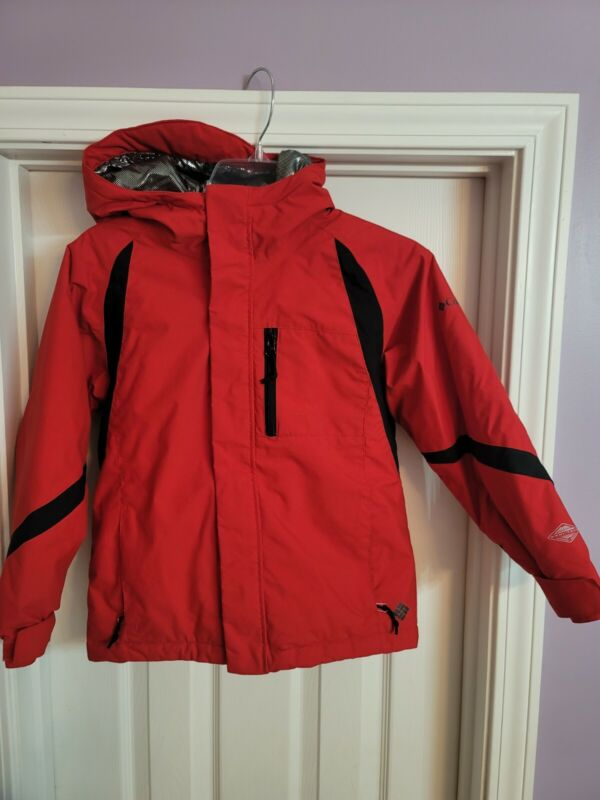 Columbia Sportswear Boys Youth sz. 8 Winter Jacket Hoodie Red Omni Tech Titanium