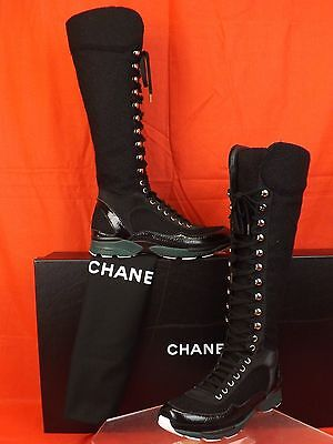 NIB CHANEL BLACK TWEED PATENT LEATHER CC LACE UP SNEAKERS TALL BOOTS 39.5 $1800