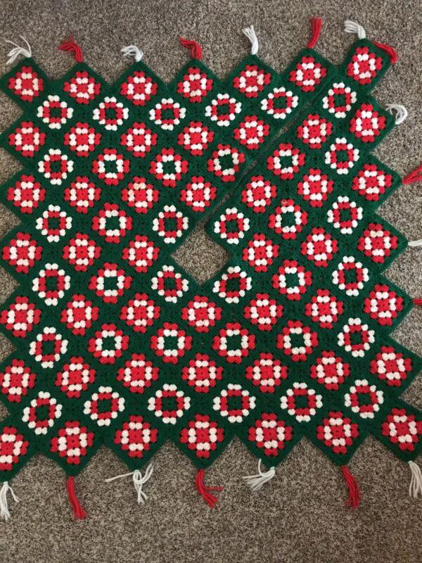 Vintage Christmas Tree Skirt Hand Crocheted Granny Square Green Red White