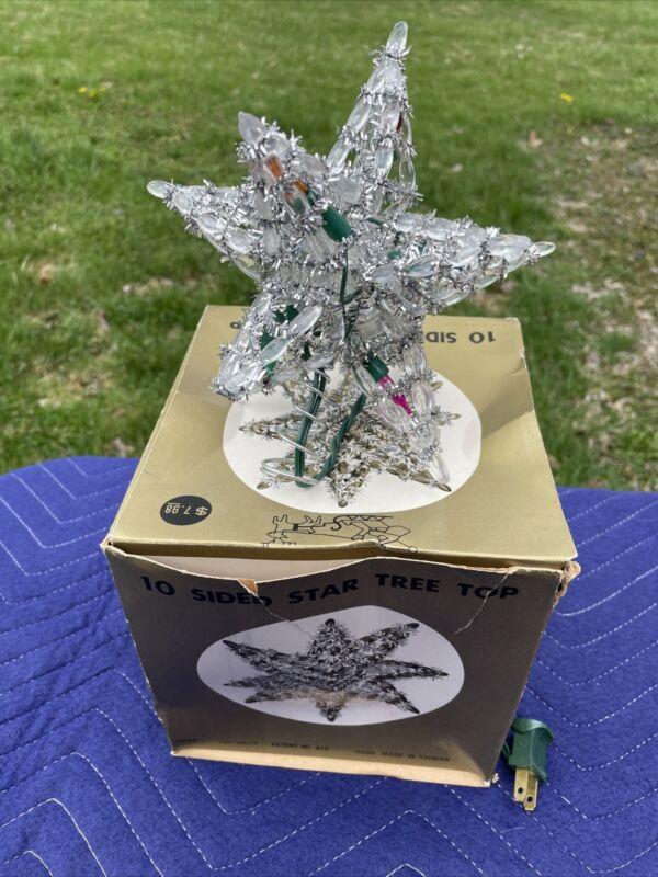 "Vintage""GOLDEN SLEIGH"" Christmas Tree Topper 10 Sided Star Light-Silver Tinsel-"