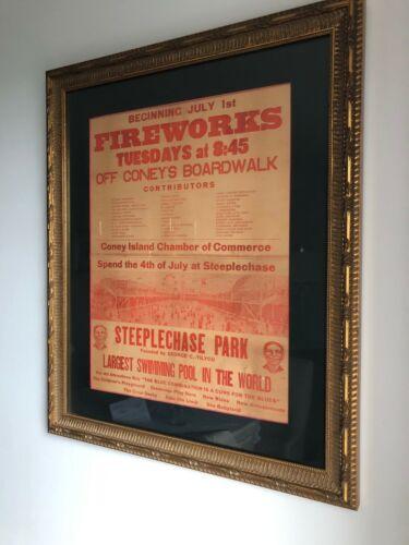 RARE 1930s ORIGINAL CONEY ISLAND BROOKLYN NY FIREWORKS STEEPLECHASE PARK POSTER