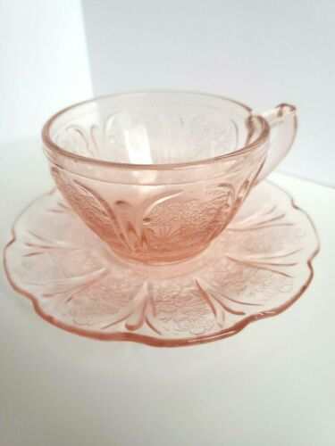 Pink Depression Glass, Jeanette Co CHERRY BLOSSOM Tea Cup and Saucer (8 Avail)