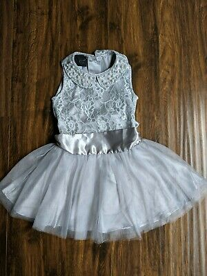 Worn Once Size 5 Biscotti Silver Gray Pearls Collar Lace Tutu -