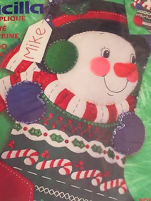Bucilla SNOWMAN Stocking Kit Christmas Sequin Felt 2001 84383 Cute Face](Cute Snowman Faces)