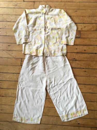 Vintage Silk 2 Piece Chinese Cheongsam Pagoda Pajama Set Small Child