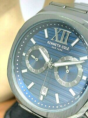 Kenneth Cole Men's Watch Gunmetal Stainless Blue Dial Quartz KC51017006 DEFECTED