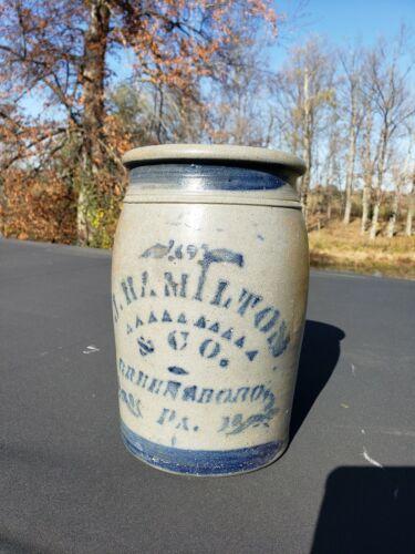 James Hamilton, Greensboro, Pennsylvania stoneware crock